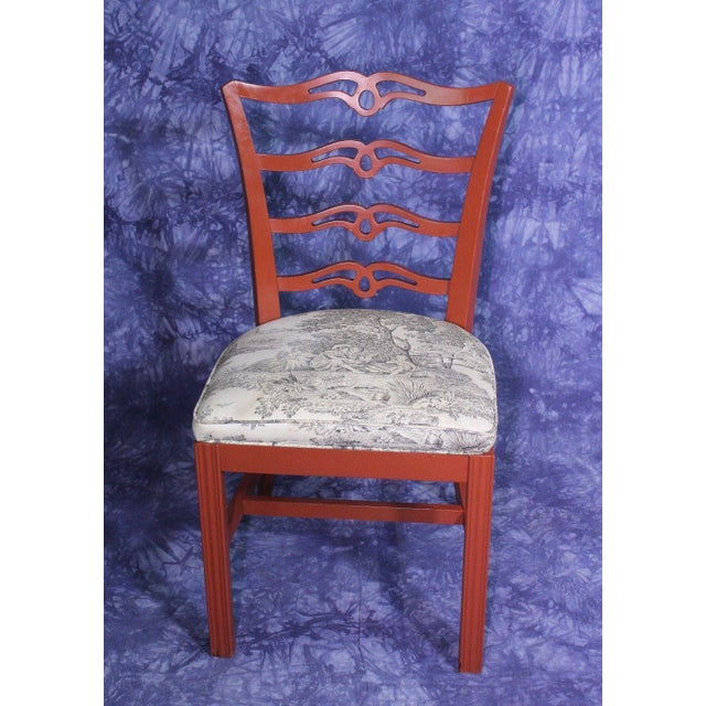Black Red Painted Antique Dining Chairs - Set of 4 For Sale - Image 8 of 11