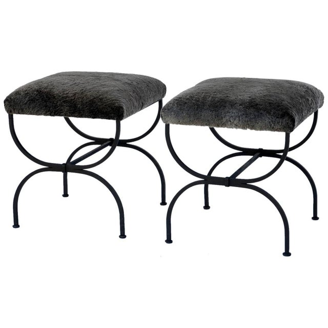 Pair of 'Strapontin' Wrought Iron and Fur Stools For Sale - Image 9 of 9