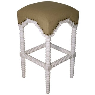 Abacus Bar Stool, White Wash For Sale