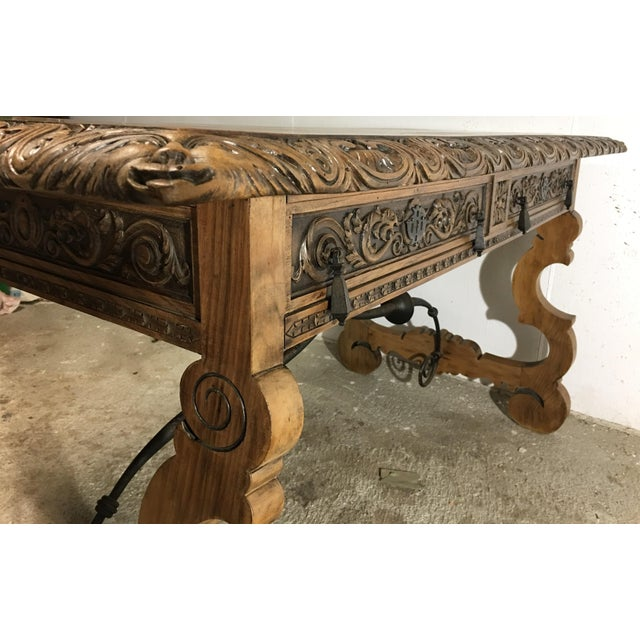 19th Century Walnut and Wrought Iron Desk with Two Drawers and Lyre Legs For Sale - Image 5 of 12