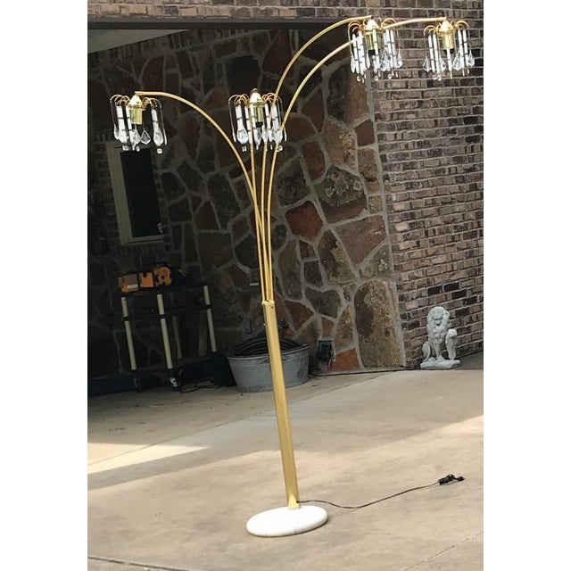 Vintage Mid Century Waterfall Floor Lamp With Marble Base For Sale - Image 10 of 13