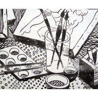 Black & White Artist Studio Lithograph For Sale