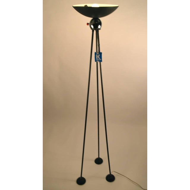Interesting tripod form torchiere, this lamp predates the later Halogen versions of Post Modern lighting design more often...