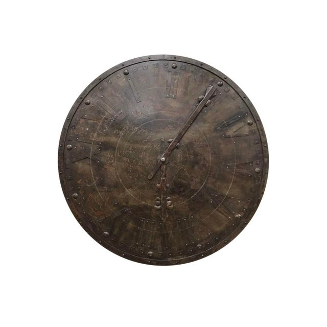 Large French Antique Metal Wall Clock Face For Sale In New York - Image 6 of 6