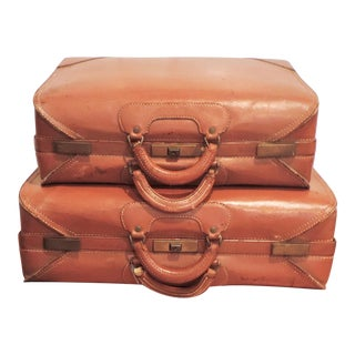 1960s Vintage Leather Luggage For Sale