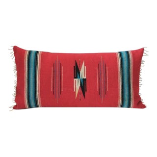 Mexican Red Serape Bolster Pillow For Sale