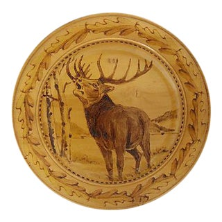 French Hand-Made Wood Wall Plate w/Stag