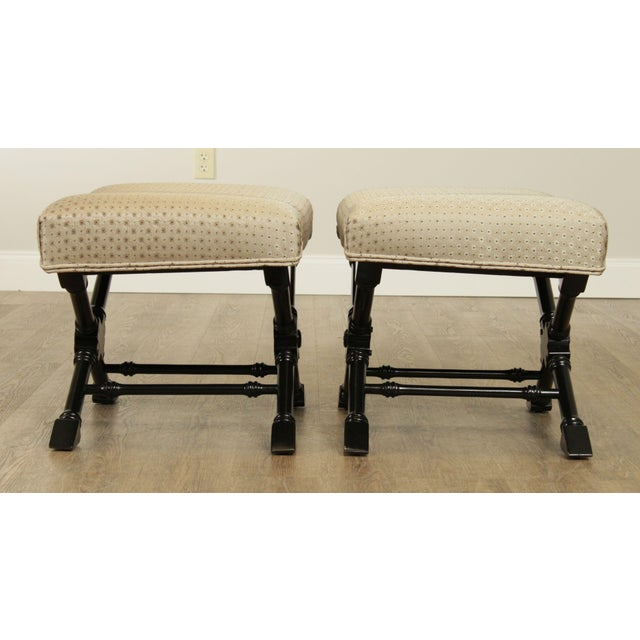 Regency Style Black Lacquered Pair X Benches For Sale - Image 4 of 13
