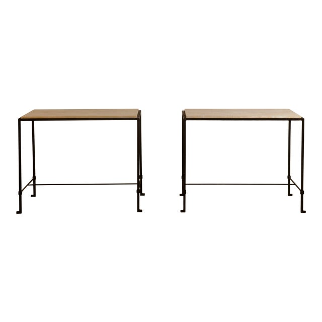 'Diagramme' Wrought Iron and Travertine Side Tables by Design Frères - a Pair For Sale