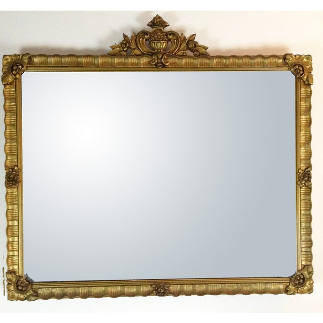 Antique Gilded Crested Wooden Wall Mirror - Image 2 of 8
