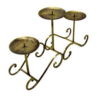 Three-Light Brass Candleholder