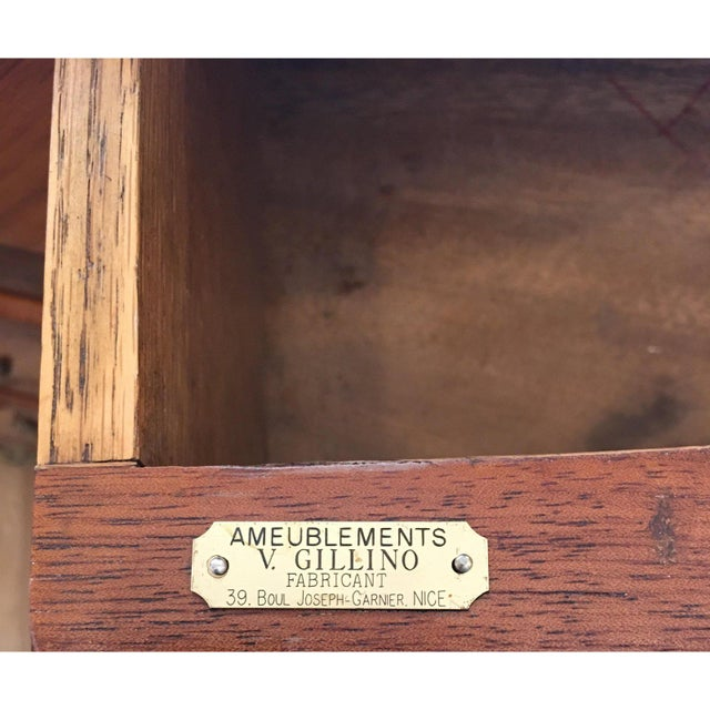 Antique French Chest of Drawers Bronze Mounted & Marble Top Commode Signed v. Gillino For Sale In Los Angeles - Image 6 of 7