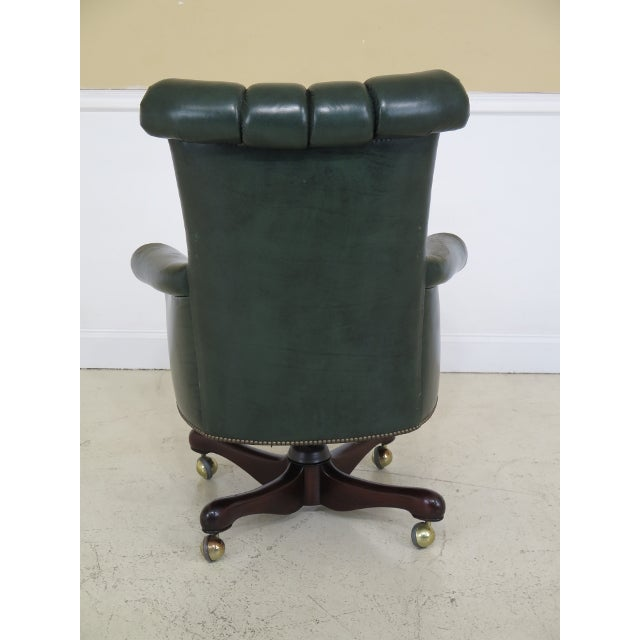 Kittinger Tufted Green Leather Office Chair For Image 9 Of 13