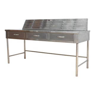Mid Century Stainless Steel Mail Sorter Table For Sale