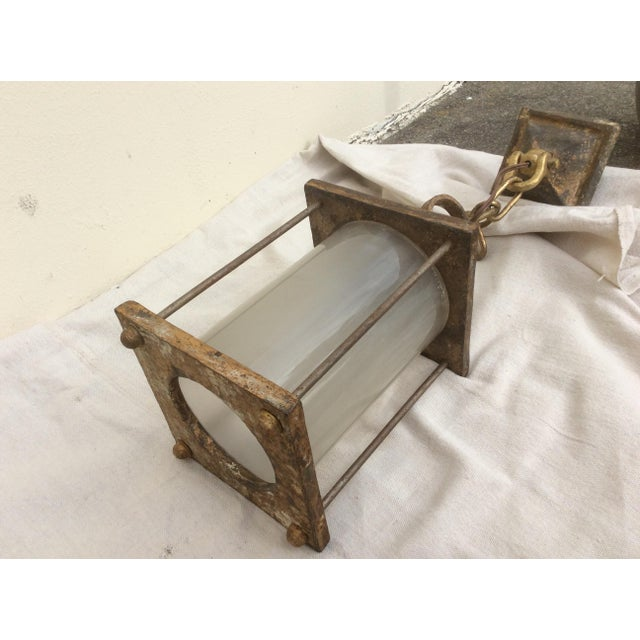 1920s Antique Hammered Texture Iron and Glass Lantern For Sale - Image 5 of 11