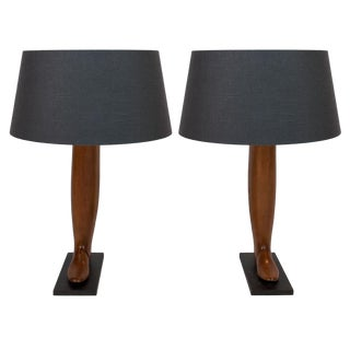 20th Century Wood Boot Forms Mounted as Table Lamps - a Pair For Sale