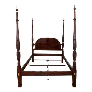 Vintage Stickley Queen Size Mahogany Rice Carved Bedframe For Sale