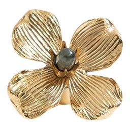 "Addison Weeks Dogwood 3"" Custom Knob - Polished Brass & Labradorite For Sale"