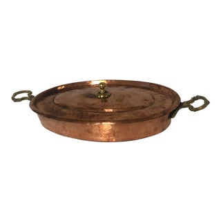 Copper Au Gratin Casserole Dish With Lid For Sale