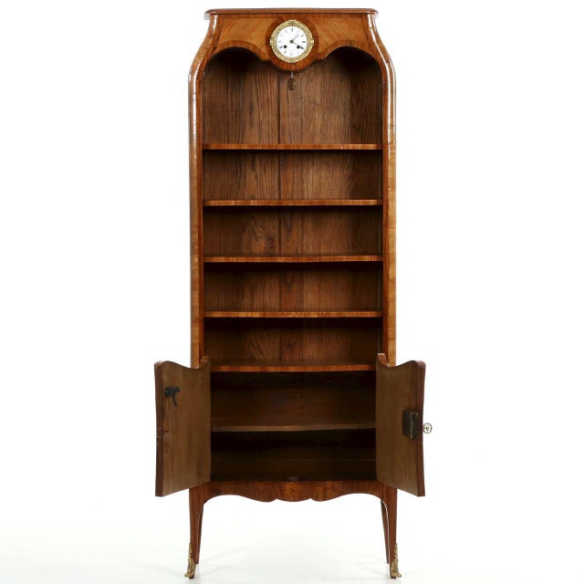 French Louis XV Style Marquetry Inlaid Bibliotheque Bookcase, Circa 1900 For Sale - Image 5 of 10