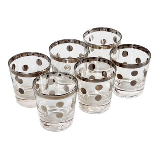Mid Century Modern Silver Polka Dot Tumblers Glasses by Dorothy Thorpe - Set of 6 For Sale