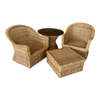 Vintage Coastal Large Braid Wicker Four Piece Set For Sale