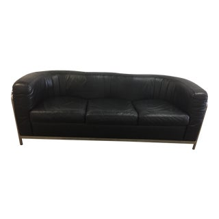 B&b Italia Black Leather & Chrome Sofa For Sale