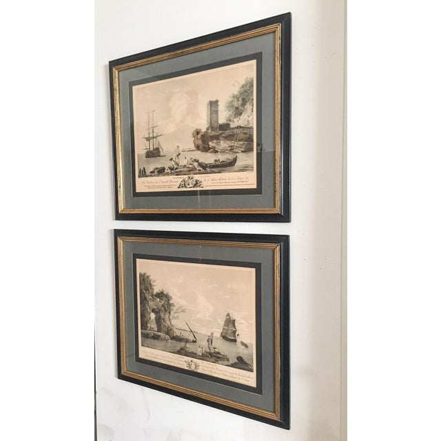 French Antique French Nautical Engravings - a Pair For Sale - Image 3 of 12