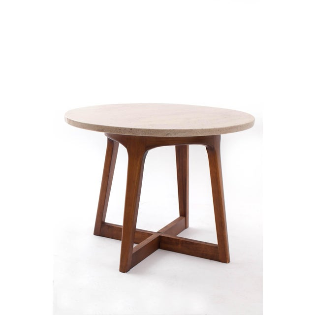 Lane Furniture 1960s Danish Modern Marble and Walnut End Tables - a Pair For Sale - Image 4 of 9
