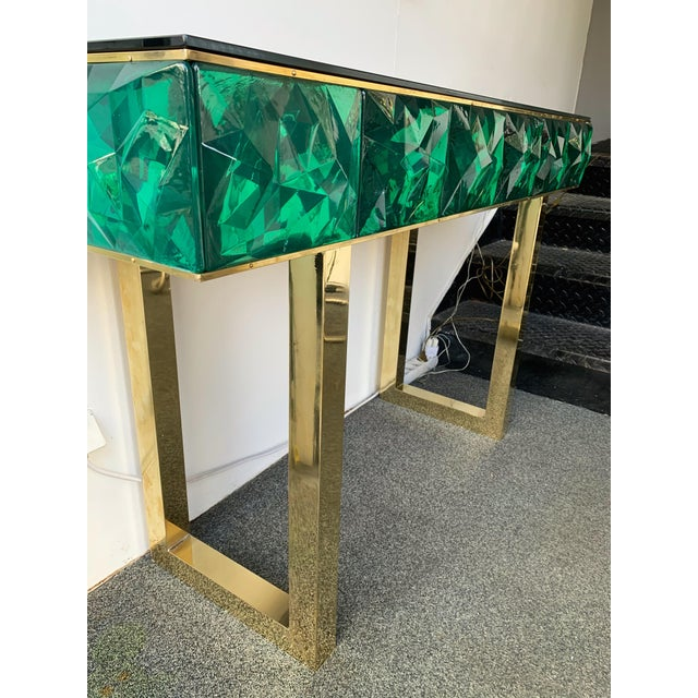 Contemporary Brass Mirror Console with Green Murano Glass, Italy For Sale - Image 6 of 13
