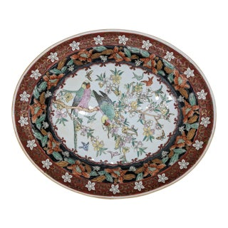 Vintage Chinese Hand Painted Platter For Sale