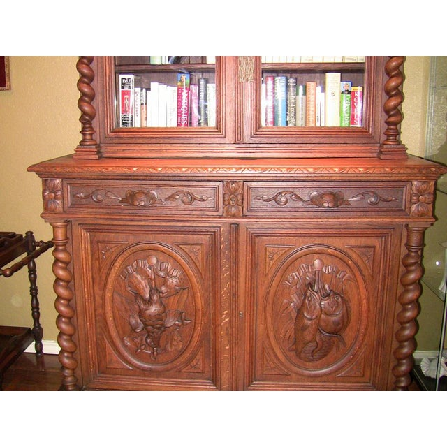 Brown Early 19th Century French Provincial Highly Carved Oak Bookcase For Sale - Image 8 of 13