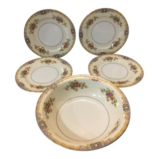 Jyoto Blue Traditional Fine China Serving Bowl and Salad Plates - 5 Pieces For Sale