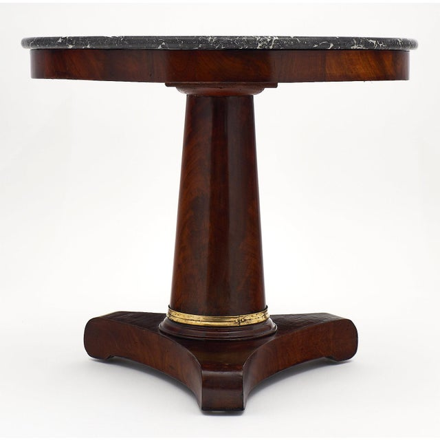 Bronze Empire Period Gueridon Table With Gray Marble Top For Sale - Image 7 of 9