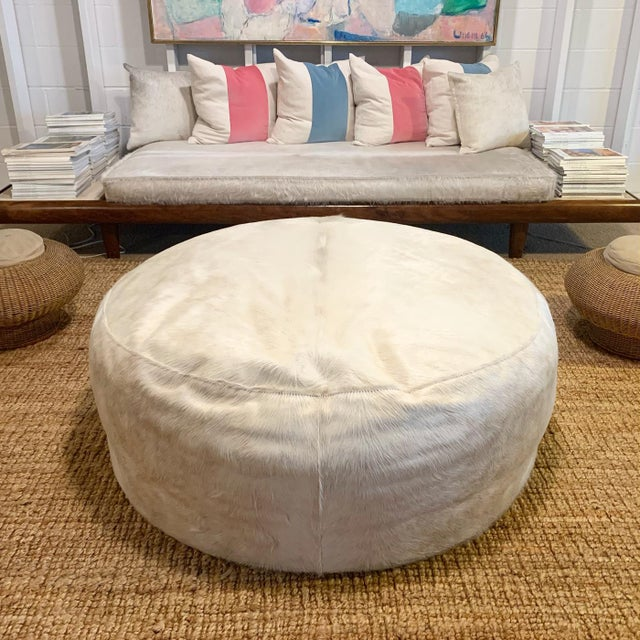 Modern Forsyth Large Round Cowhide Ottoman For Sale - Image 3 of 5