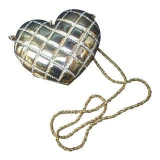 Asprey London Opulent Gilt Metal Heart Shaped Minaudière For Sale