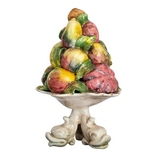 Majolica Fruit Tree Italian Large Pottery Topiary with Fish Base For Sale