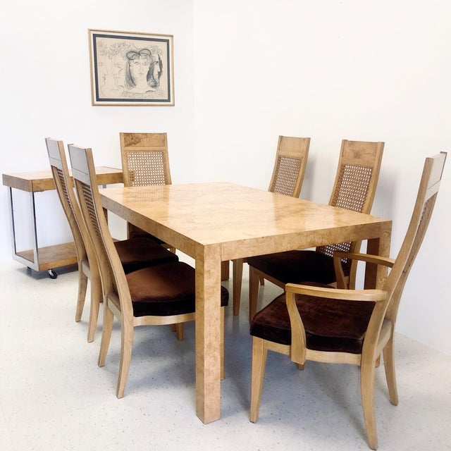 Hollywood Regency Lane Burl Wood Dining Table 6 Dining Chairs 9 Pieces Chairish