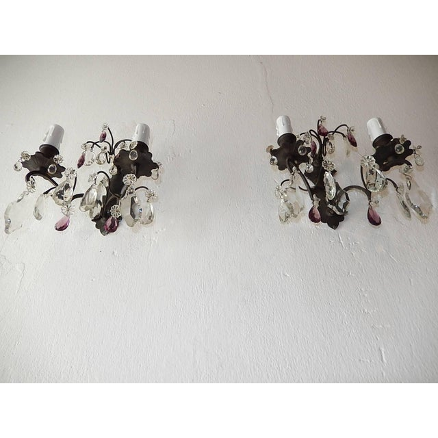 French French Burnished Brass Amethyst and Clear Crystal Prisms Sconces For Sale - Image 3 of 11