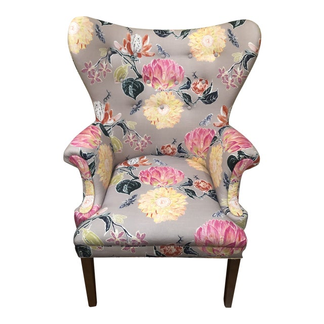 Modern Anthropologie Lotus Blossom Wingback Chair For Sale