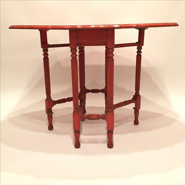 Vintage Orange Drop Leaf Table - Image 5 of 11