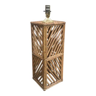 1960s Vintage Geo Bamboo Lamp For Sale