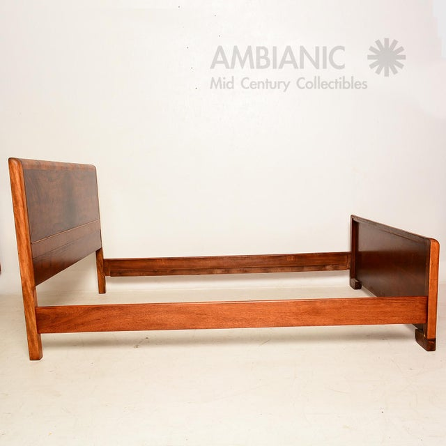 Art Deco Style Full Size Bed, Walnut Wood - Image 6 of 8
