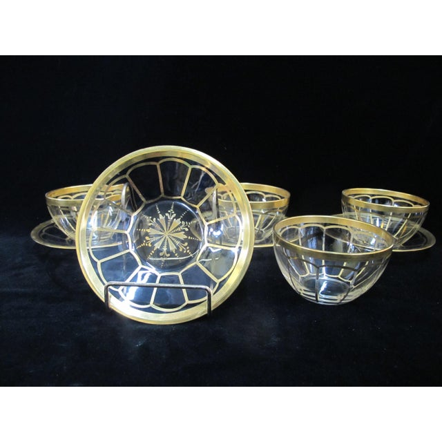 Transparent Vintage Mid Century Gold Gilt Glass Cream Soup Bowl & Saucer- 8 Pieces For Sale - Image 8 of 8