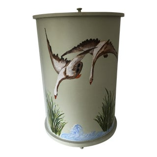 Vintage Hand Painted Flying Geese Wooden Laundry Hamper