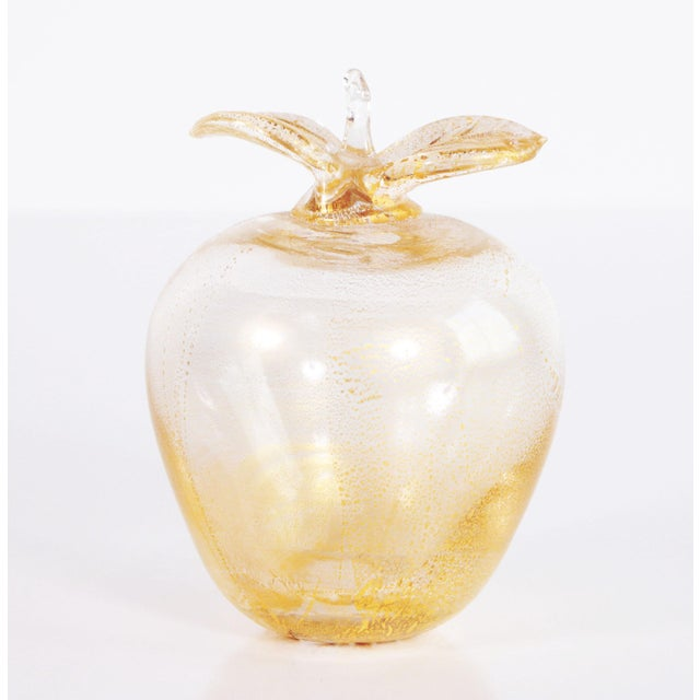 Metal Vintage Murano Art Glass Gold Fleck Apple Paperweight For Sale - Image 7 of 7