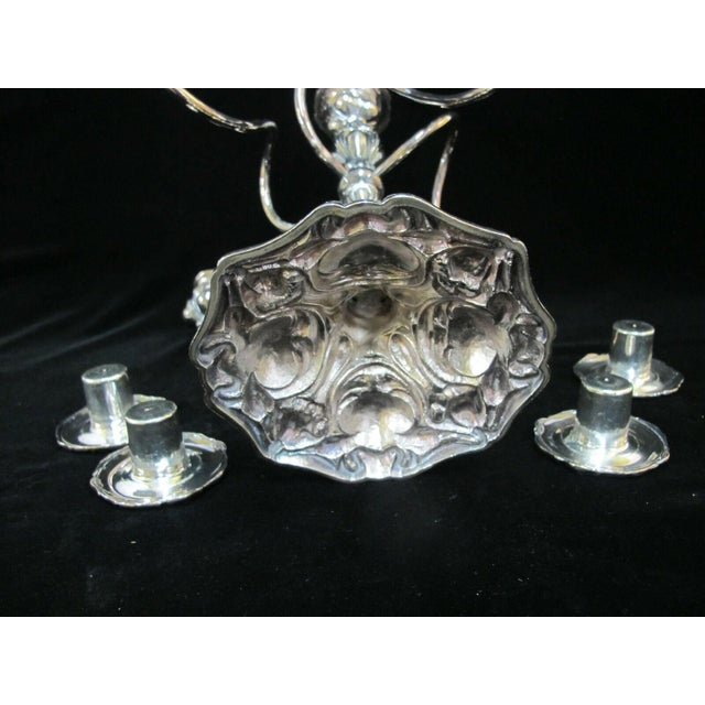 Silver Early 20th Century Art Nouveau Silverplate Spiraling 4 Arm Candelabra Candlestick Holder For Sale - Image 8 of 10