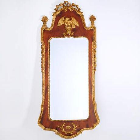 Chestnut Mid 20th Century Federal Style Parcel Gilt Mahogany Mirror For Sale - Image 8 of 8