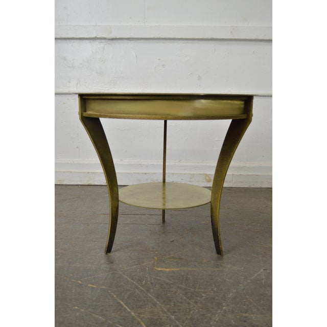 Studio Custom Crafted Pair of Brushed Steel Gold Finish Round Side Tables - Image 3 of 10