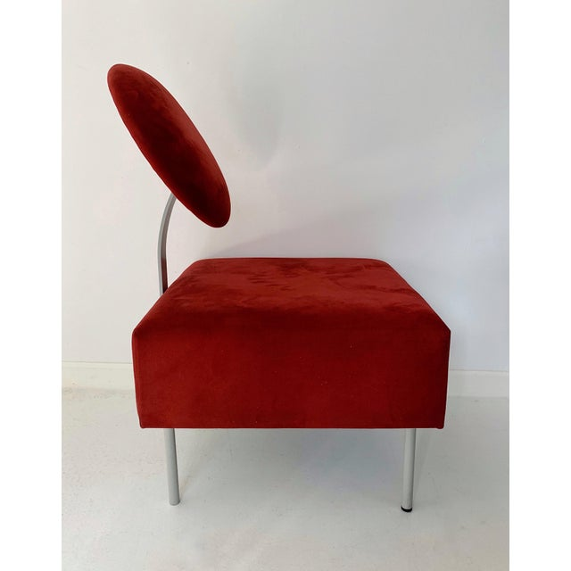 1980's Vintage Andreu World Contemporary Red Square Lounge Chair For Sale - Image 4 of 8
